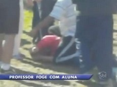 Professor que fugiu com aluna de 14 anos  espancado; veja