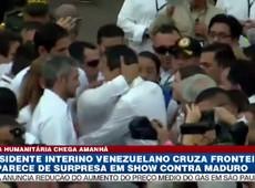 Juan Guaidó cruza fronteira e aparece de surpresa em show contra Maduro
