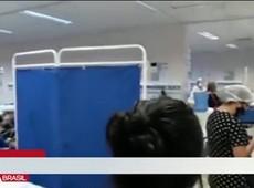 Pacientes aglomerados em meio à pandemia