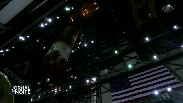Nasa divulga imagens do foguete que levará astronautas à Lua e a Marte